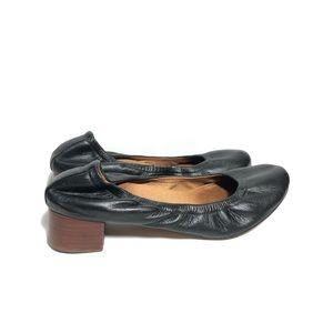 Anthropologie Black Leather Ballet Block Heel